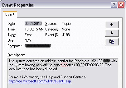 IP conflict MAC address