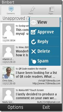 wordpress symbian comments