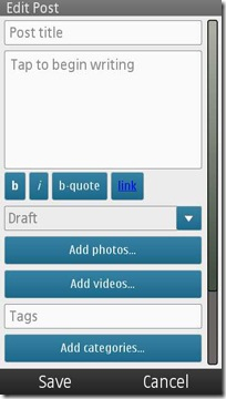 wordpress symbian new post